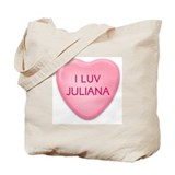 I Luv JULIANA Candy Heart Tote Bag
