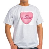 I Luv CHARLIZE Candy Heart Ash Grey T-Shirt