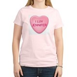 I Luv JENNIFER Candy Heart Women's Pink T-Shirt