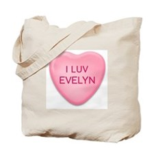 I Luv EVELYN Candy Heart Tote Bag