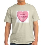 I Luv TRISTEN Candy Heart Ash Grey T-Shirt