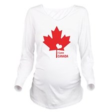 I Love Canada Long Sleeve Maternity T-Shirt