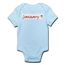 """January 9"" printed on a Infant Bodysuit"