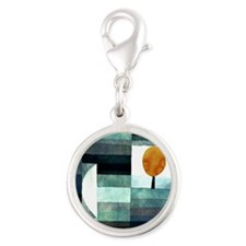 Abstract art Silver Round Charm