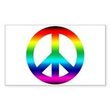 Rainbow Peace Sign Rectangle Decal