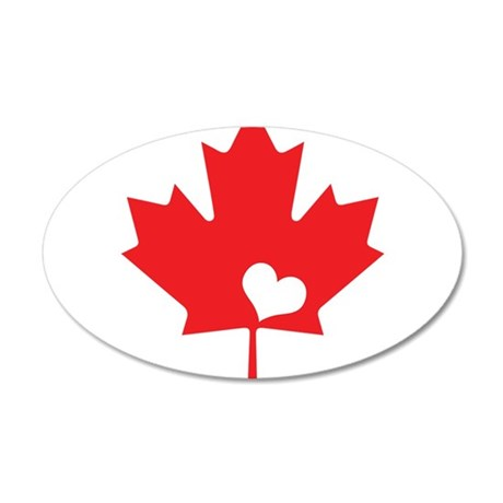 Canada Day Maple Leaf and Heart Wall Decal