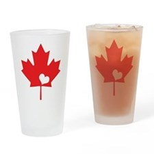 Canada Day Maple Leaf and Heart Drinking Glass