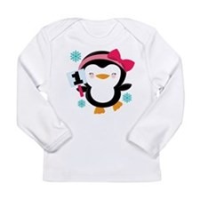 1st Birthday Penguin Girl Long Sleeve Infant T-Shi