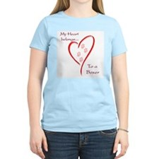 Boxer Heart Belongs Women's Pink T-Shirt