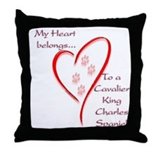 Cavalier Heart Belongs Throw Pillow