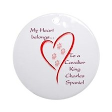 Cavalier Heart Belongs Ornament (Round)