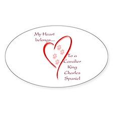 Cavalier Heart Belongs Oval Decal