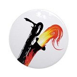 Hot Baritone Sax Ornament (Round)