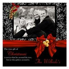 Christmas Red Black Scroll Invitations