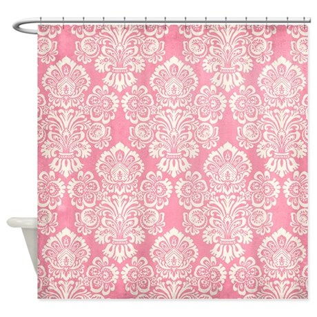trendy vintage pink damask shower curtain by yourperfecthome