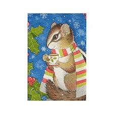 Christmas Tea Chipmunk Rectangle Magnet