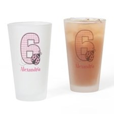 Personalized Pink Ladybug 6th Birthday Drinking Gl