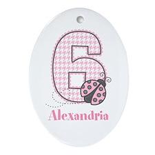 Personalized Pink Ladybug 6th Birthday Ornament (O