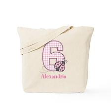Personalized Pink Ladybug 6th Birthday Tote Bag