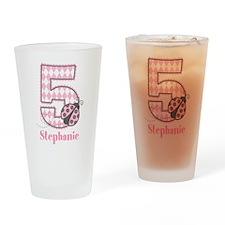 Personalized Pink Ladybug 5th Birthday Drinking Gl