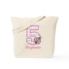 Personalized Pink Ladybug 5th Birthday Tote Bag