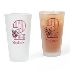 Personalized Pink Ladybug 2nd Birthday Drinking Gl
