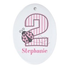 Personalized Pink Ladybug 2nd Birthday Ornament (O
