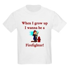 I Wanna Be A Firefighter Kids T-Shirt