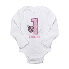 Personalized Pink Ladybug 1st Birthday Onesie Romper Suit
