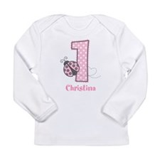 Personalized Pink Ladybug 1st Birthday Long Sleeve