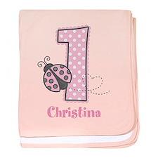 Personalized Pink Ladybug 1st Birthday baby blanke