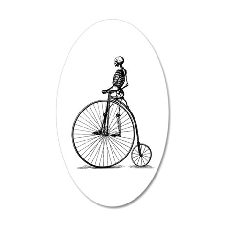 Skeleton on Bicycle 35x21 Oval Wall Decal