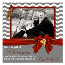 Gray Chevron Photo Christmas Card Invitations