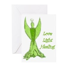 Green angel blessing Greeting Cards