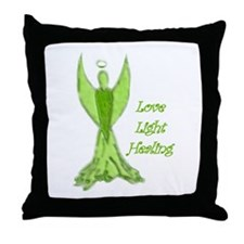 Green angel blessing Throw Pillow