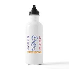 Peace Love Trombone Music Water Bottle