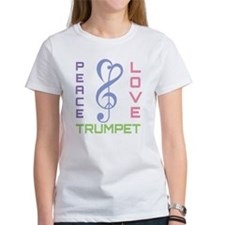 Peace Love Trumpet Music Tee