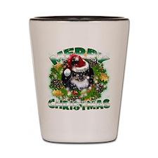 MerryChristmas Black Pekingnese Shot Glass