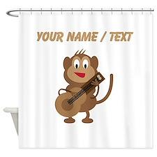 Custom Monkey Playing Guitar Shower Curtain