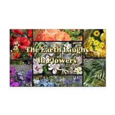 Rainbow colored Earth Laughs  Rectangle Car Magnet