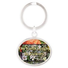 Rainbow colored Earth Laughs in Flow Oval Keychain