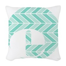 Teal Chevron Monogram-E Woven Throw Pillow