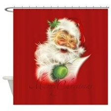 Fractal Santa Shower Curtain
