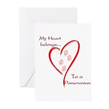Pomeranian Heart Belongs Greeting Cards (Package o
