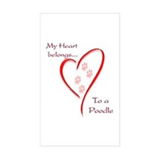 Poodle Heart Belongs Rectangle Decal