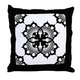Doily Black Throw Pillow