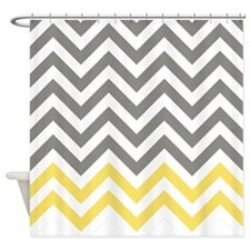 Gray and Canary Yellow Chevrons 1 Shower Curtain