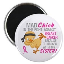 "Mad Chick 3L Breast Cancer 2.25"" Magnet (10 pack)"