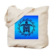 Maori Ocean Blue Turtle Tote Bag