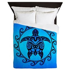 Maori Ocean Blue Turtle Queen Duvet